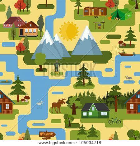 Great city map creator.Seamless pattern map. Camping, outdoor, countryside. Make your perfect city