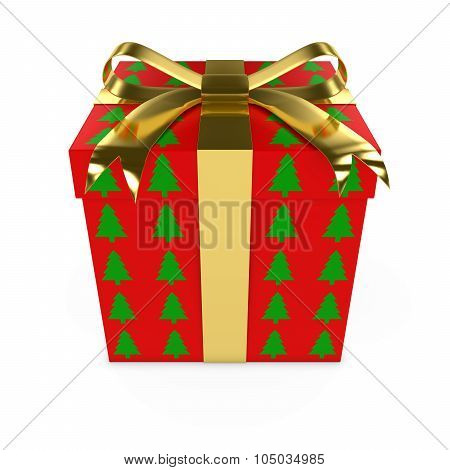 Red And Green Christmas Tree Pattern Present With Gold Bow