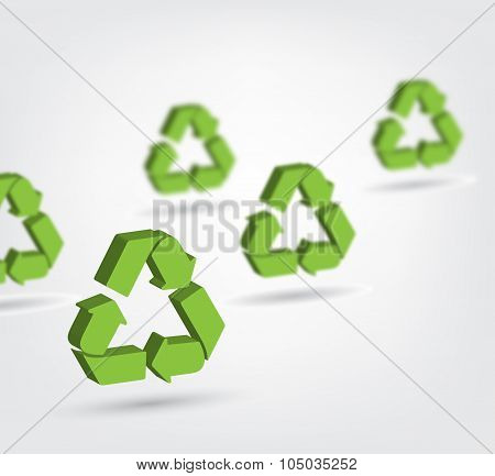 Vector Illustration Of 3D Recycling Symbol
