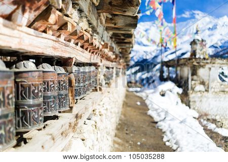 Prayer Wheels In High Himalaya Mountains, Nepal Village