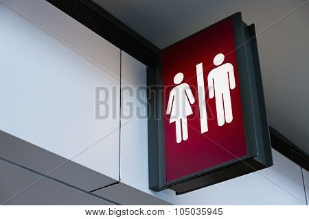 Restroom Sign Lightbox In The Airport