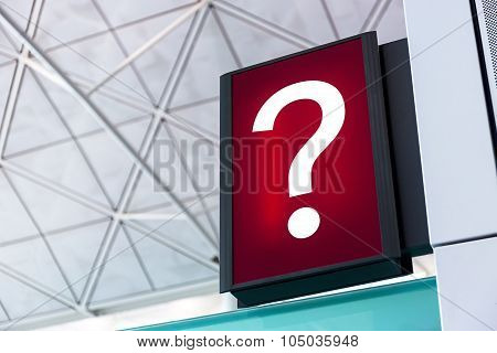 Question Mark Sign Lightbox In The Airport