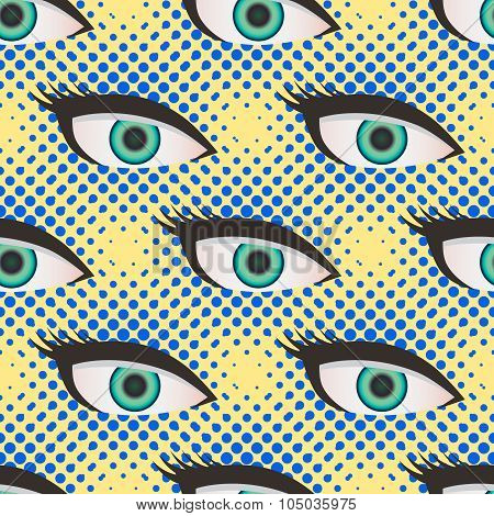Pop art style halftone eyes pattern