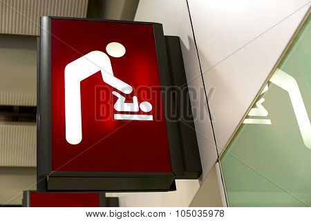 Baby Changing Sign Lightbox In The Airport