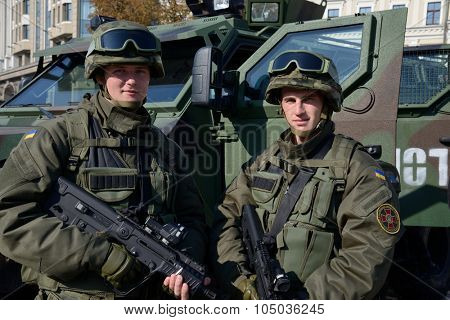 Kiev, Ukraine,  Michael's Square, October 16, 2015. The exhibition of military equipment, on the Day of Defender of Ukraine. Soldiers of the National Guard exhibit military equipment.