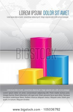 Economic abstract background for brochure cover with color graph