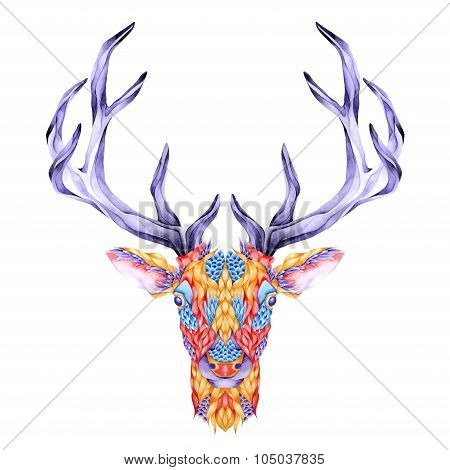 Deer head tattoo. psychedelic watercolor illustration