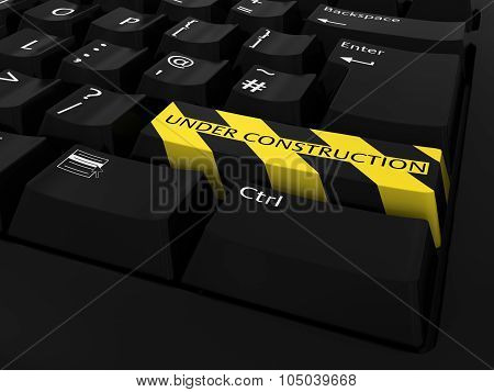 Website Under Construction Concept - Yellow And Black Striped Under Construction Keyboard Button