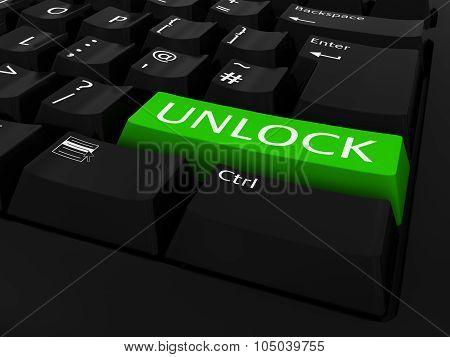 Green Unlock Key Keyboard Background