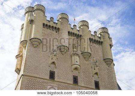Defense, alcazar castle city of Segovia, Spain. Old town of Roman origin