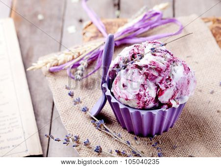 Berry ice cream with lavender flowers