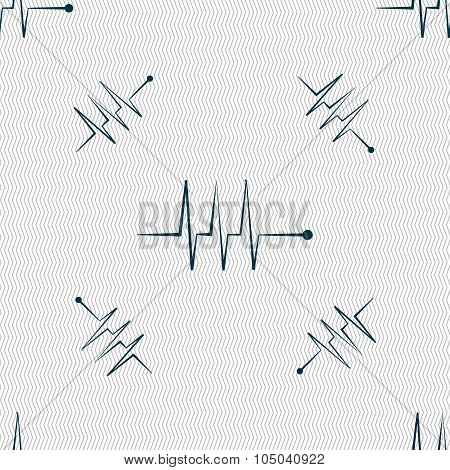 Cardiogram Monitoring Sign Icon. Heart Beats Symbol. Seamless Pattern With Geometric Texture. Vector