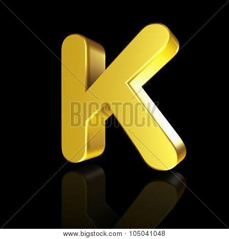 Gold Letter K In 3D