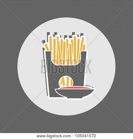 French Fries Packet With Saucer Of Ketchup