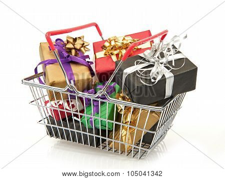 Shopping Basket Filled With Christmas Presents
