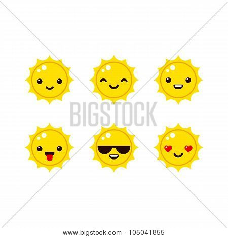 Cartoon Sun Emoticons