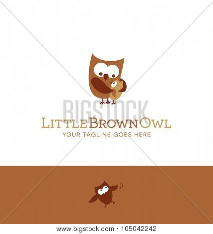 logo design for children's store, daycare, parenting resources, charity. parent and baby owls.