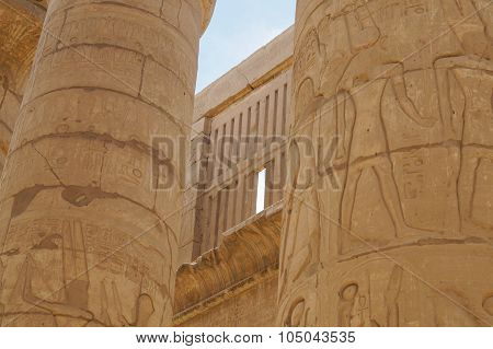 Ancient Hieroglyphs Karnak Temple column