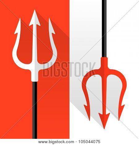 Flat style tridents on red and white background. Vector.