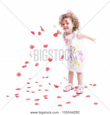 Sweet Female Child With Roses