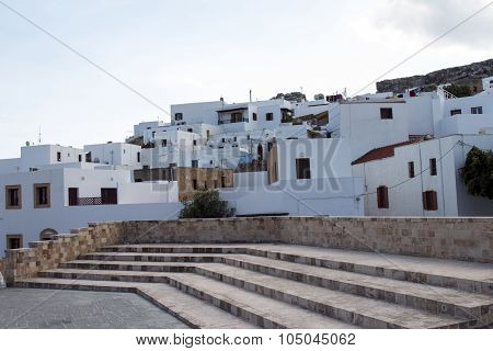 The White Houses Of Lindos In Rhodes Island