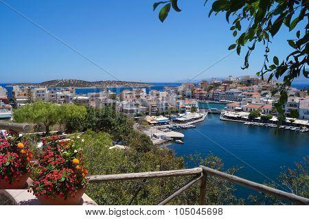 The observation deck of Agios Nikolaos Crete Greece