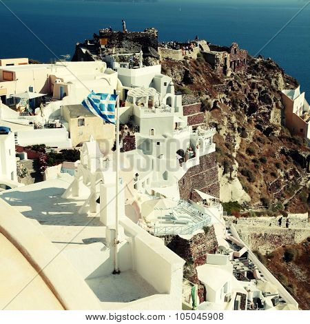 View Of Oia Town And Old Castle Of Oia, Santorini, Greece.
