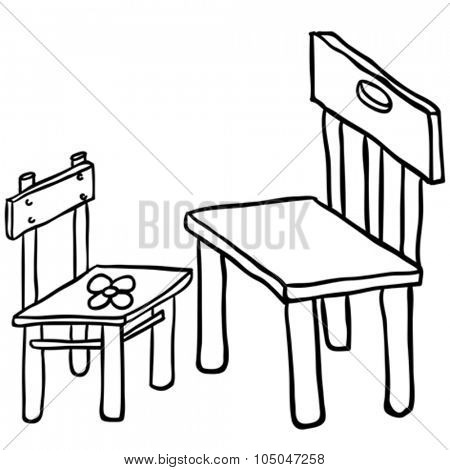 simple black and white chairs cartoon