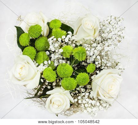 Top View Of Bouquet With White Rose Flowers