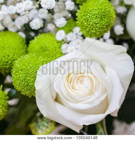Fresh White Rose Bloom In Bouquet