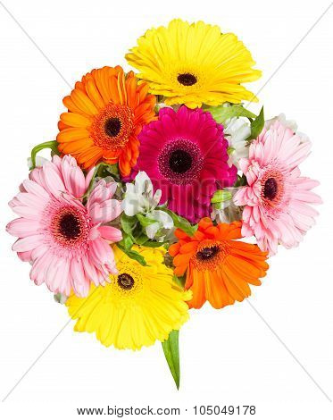Above View Of Posy With Gerbera Flowers Isolated