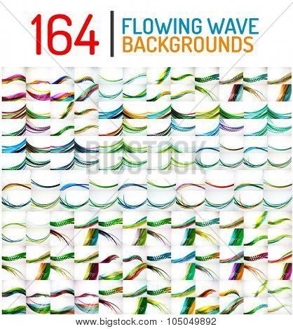 Huge mega collection of wave abstract backgrounds. Hi-tech business templates, layouts, message presentation backdrops