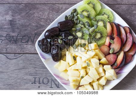 Fruit platter, salad