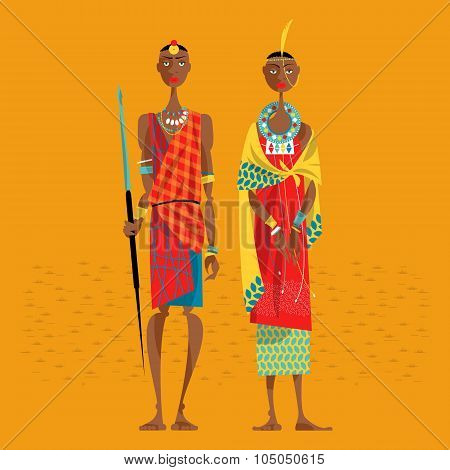 Maasai Couple In Traditional Clothing.