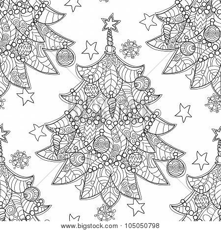 Merry Christmas zentangle fir tree doodle .