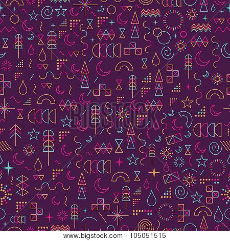 Line Art Outline Seamless Pattern Color Elements