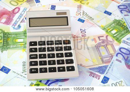 Pocket Calculator On Euro Background
