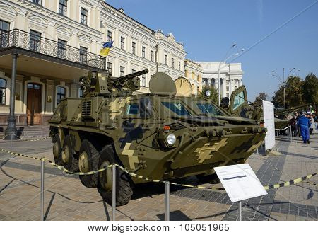 Kiev, Ukraine,  Michael's Square, October 16, 2015. The exhibition of military equipment, on the Day of Defender of Ukraine. Armored personnel carrier BTR-4E