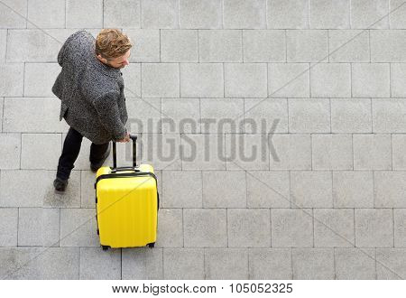 Travel Man Walking With Suitcase