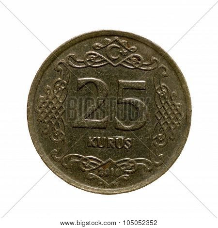 Twenty-five Coin Kurush Turkey Isolated On A White Background. Top View .