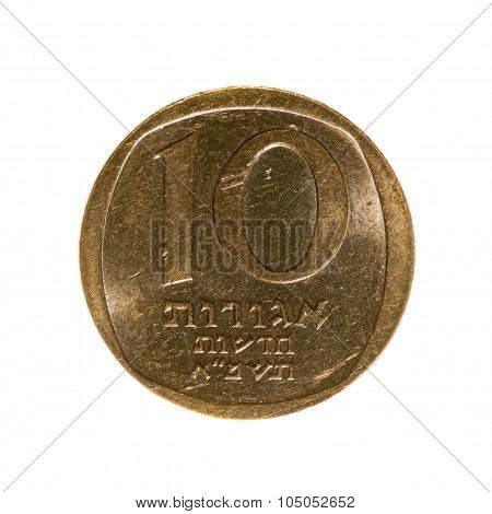 Ten New Agorot Coin Of Israel Isolated On White Background. Top View .