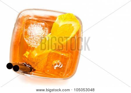 Top Of View Of Glass Of Spritz Aperitif Aperol Cocktail With Orange Slices And Ice Cubes