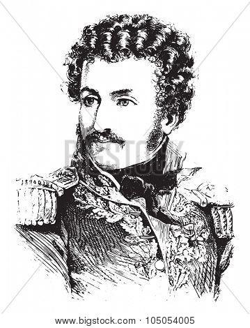 Daumesnil, vintage engraved illustration. History of France 1885.
