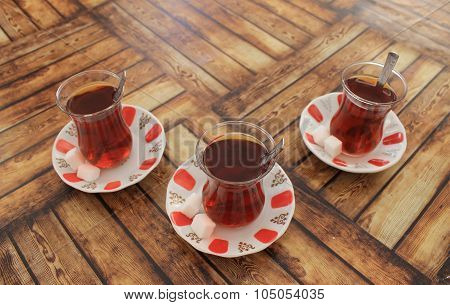 Turkish tea with sugar in traditional cups