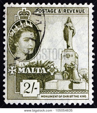 Postage Stamp Malta 1956 Monument Of Christ The King
