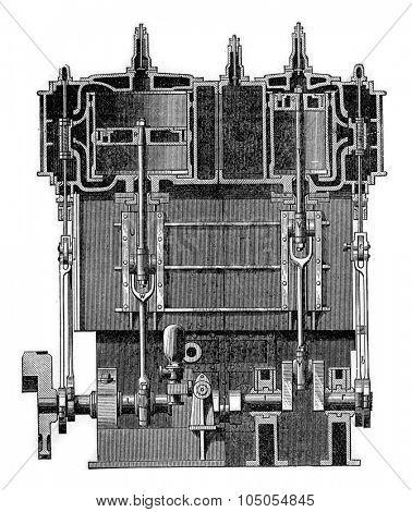 Machine horizontal compound, vintage engraved illustration. Industrial encyclopedia E.-O. Lami - 1875.