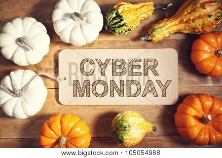 Cyber Monday Message With Colorful Pumpkins