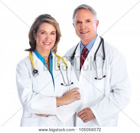 Elderly clinic doctors isolated over white background.