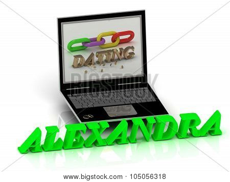 Alexandra- Name And Family Bright Letters Near Notebook