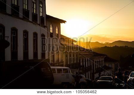 Colonial houses in Ouro Preto, Minas Gerais, Brazil